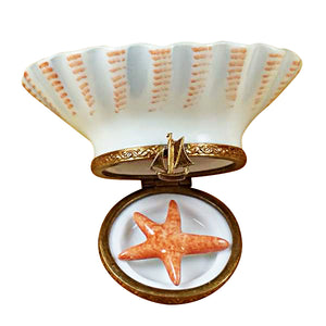 "Rochard ""Seashell Beach Scene with Starfish"" Limoges Box"