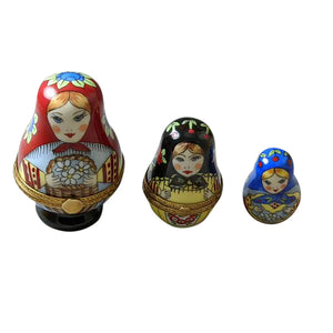 "Rochard ""Nesting Russian Dolls with Red Scarf"" Limoges Box"