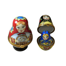 "Load image into Gallery viewer, Rochard ""Nesting Russian Dolls with Red Scarf"" Limoges Box"
