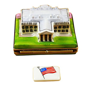 "Rochard ""White House with Removable Porcelain Flag"" Limoges Box"