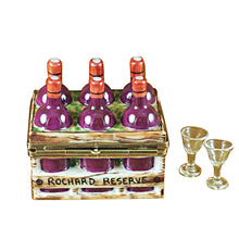 "Load image into Gallery viewer, Rochard ""Wine Bottles in Crate with Two Glasses"" Limoges Box"