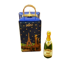 "Load image into Gallery viewer, Rochard ""Paris by Night Giftbag with Bottle of Champagne"" Limoges Box"