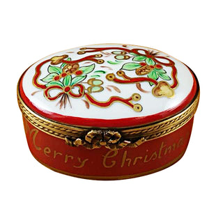 "Rochard ""Oval-Merry Christmas"" Limoges Box"