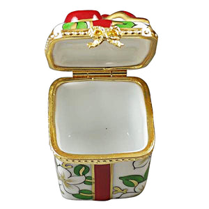 "Rochard ""Christmas Gift Box with Red Bow"" Limoges Box"