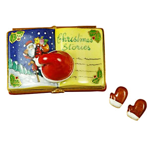 "Rochard ""Christmas Book ""Christmas Stories"" with Removable Gloves"" Limoges Box"