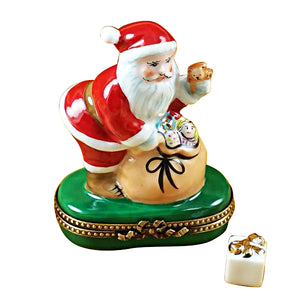"Rochard ""Santa with Gift Bag"" Limoges Box"