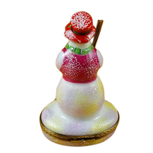 "Rochard ""Snowman with Red Hat and Broom"" Limoges Box"