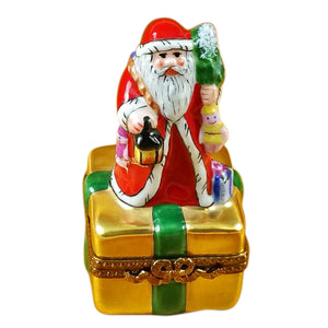 "Rochard ""Santa on Box with Gifts and Lantern"" Limoges Box"