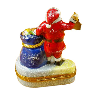 "Rochard ""Santa with Lantern & Gifts"" Limoges Box"