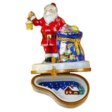 "Load image into Gallery viewer, Rochard ""Santa with Lantern & Gifts"" Limoges Box"