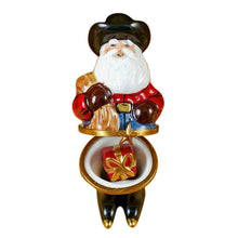 "Load image into Gallery viewer, Rochard ""Santa with Cowboy Hat, Boots, Rope & Removable Porcelain Present"" Limoges Box"