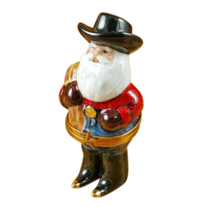 "Rochard ""Santa with Cowboy Hat, Boots, Rope & Removable Porcelain Present"" Limoges Box"