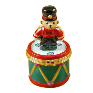 "Rochard ""Teddy Bear on Drum"" Limoges Box"