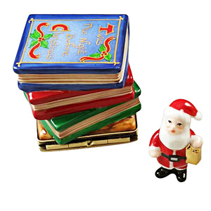 "Rochard ""Twas the Night Before Christmas Stack of Books with Removable Santa"" Limoges Box"