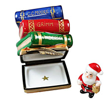 "Load image into Gallery viewer, Rochard ""Twas the Night Before Christmas Stack of Books with Removable Santa"" Limoges Box"
