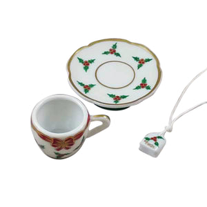 "Rochard ""Christmas Teacup with Teabag"" Limoges Box"