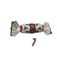 "Load image into Gallery viewer, Rochard ""Christmas Cracker with Candy Cane"" Limoges Box"