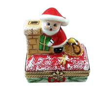 "Load image into Gallery viewer, Rochard ""Santa on Roof with Gift Bag"" Limoges Box"