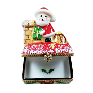 "Rochard ""Santa on Roof with Gift Bag"" Limoges Box"