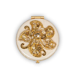 Jay Strongwater Elizabeth Flower Jeweled Compact - Golden