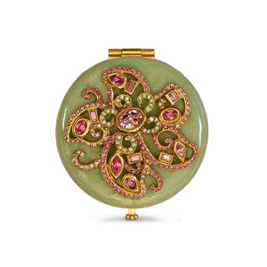 Jay Strongwater Elizabeth Flower Jeweled Compact - Jade Green