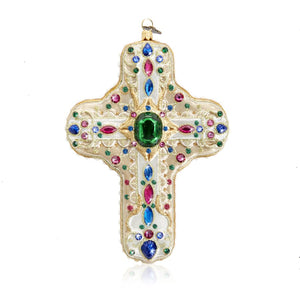Jay Strongwater Baroque Cross Glass Ornament