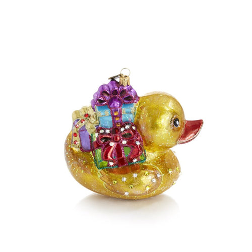 Jay Strongwater Golden Ducky Carrying Gifts Glass Ornament