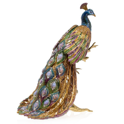 Jay Strongwater Peabody - Grand Peacock On Branch