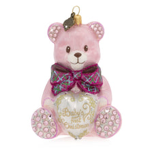 Load image into Gallery viewer, Jay Strongwater Baby's First Christmas Teddy Glass Ornament - Pink