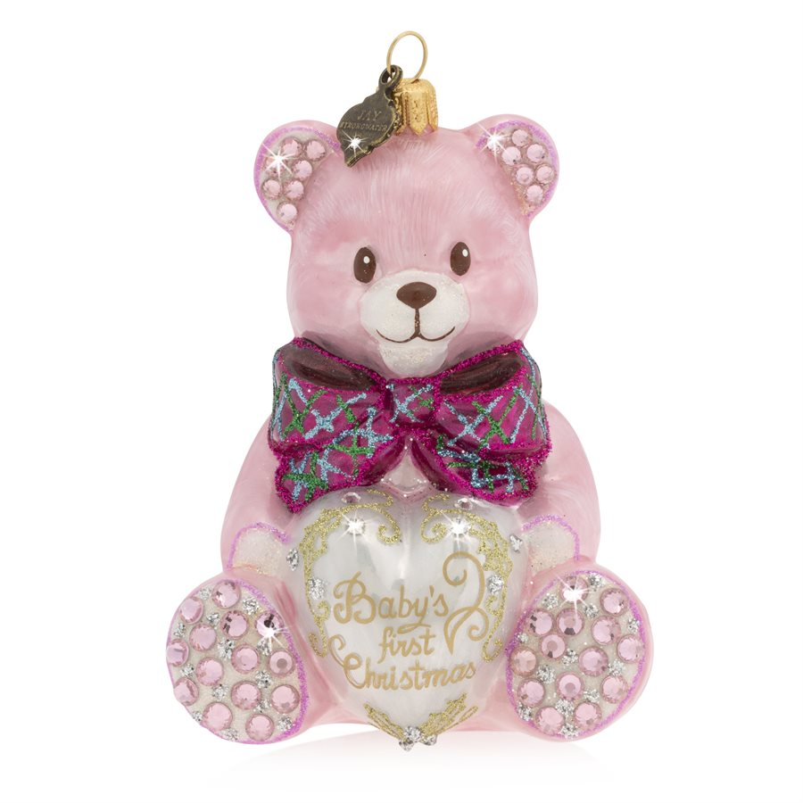 Jay Strongwater Baby's First Christmas Teddy Glass Ornament - Pink