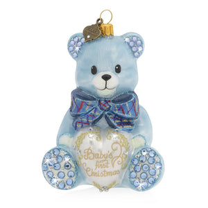 Jay Strongwater Baby's First Christmas Teddy Glass Ornament - Blue