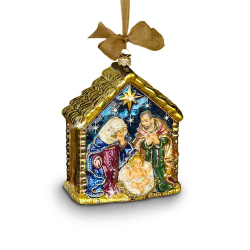 Jay Strongwater Holy Family Glass Ornament
