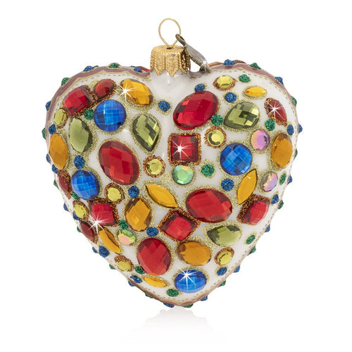 Jay Strongwater Bejeweled Heart Glass Ornament