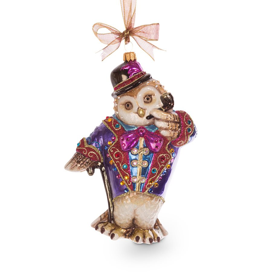 Jay Strongwater Jubilee Owl Glass Ornament