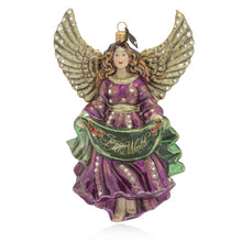 Load image into Gallery viewer, Jay Strongwater Joy to the World Angel Glass Ornament