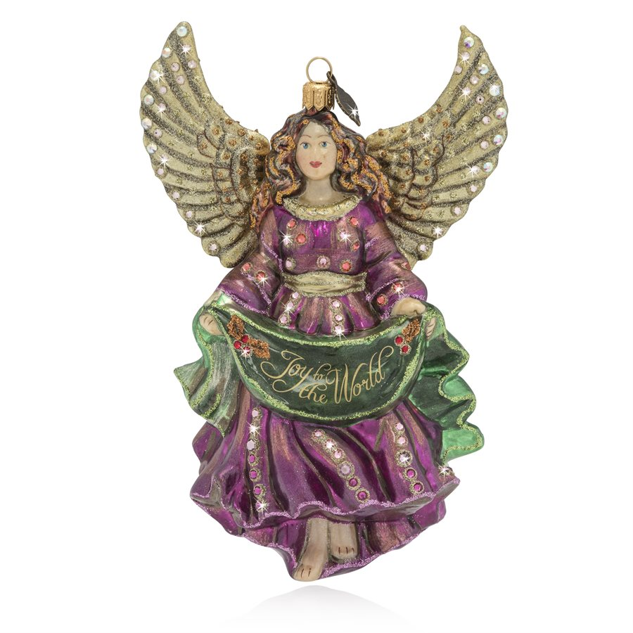 Jay Strongwater Joy to the World Angel Glass Ornament