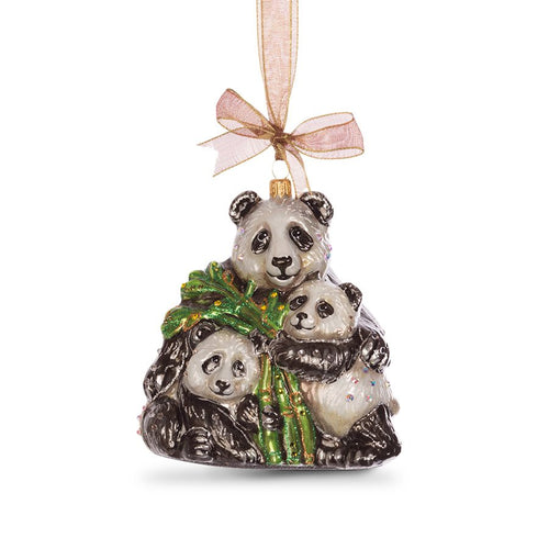 Jay Strongwater Mother & Baby Panda Glass Ornament