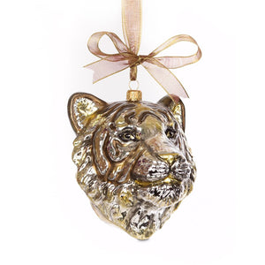 Jay Strongwater Gilded Tiger Head Glass Ornament