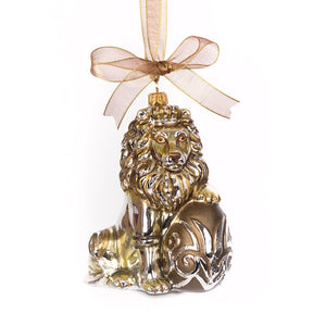 Jay Strongwater Gilded Lion with Egg Glass Ornament