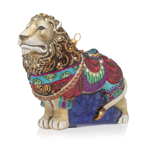 Jay Strongwater Carousel Lion Glass Ornament