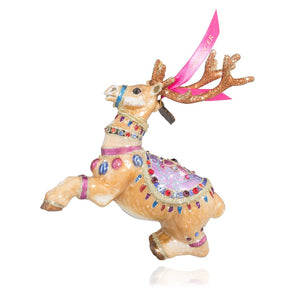 Jay Strongwater Prancer Reindeer Glass Ornament