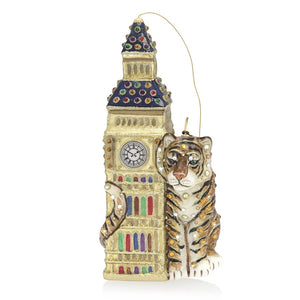 Jay Strongwater Big Ben with Tiger Glass Ornament