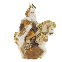 Load image into Gallery viewer, Jay Strongwater Santa on Horse Glass Ornament