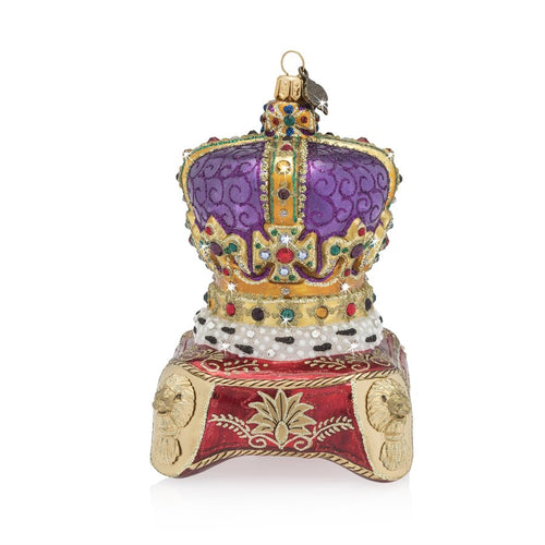 Jay Strongwater Queen's Crown Glass Ornament