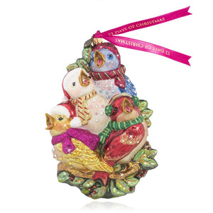 Jay Strongwater Four Calling Birds Glass Ornament