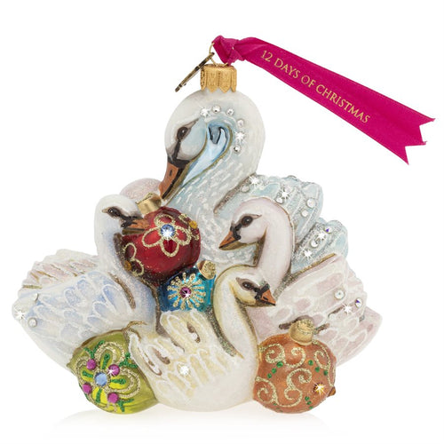 Jay Strongwater Seven Swans of Swimming Glass Ornament