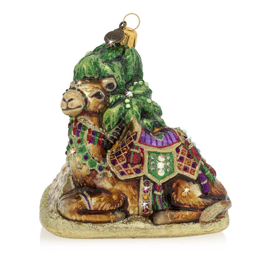 Jay Strongwater Camel and Pyramid Glass Ornament