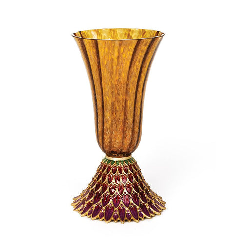 Jay Strongwater Sabrina Feather Vase - Amber