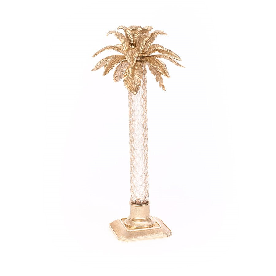 Jay Strongwater Delmont Palm Leaf Gilded Glass Candlestick - Gold