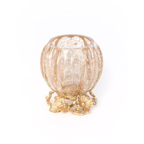 Jay Strongwater Rhett Leaf & Flower Gilded Votive